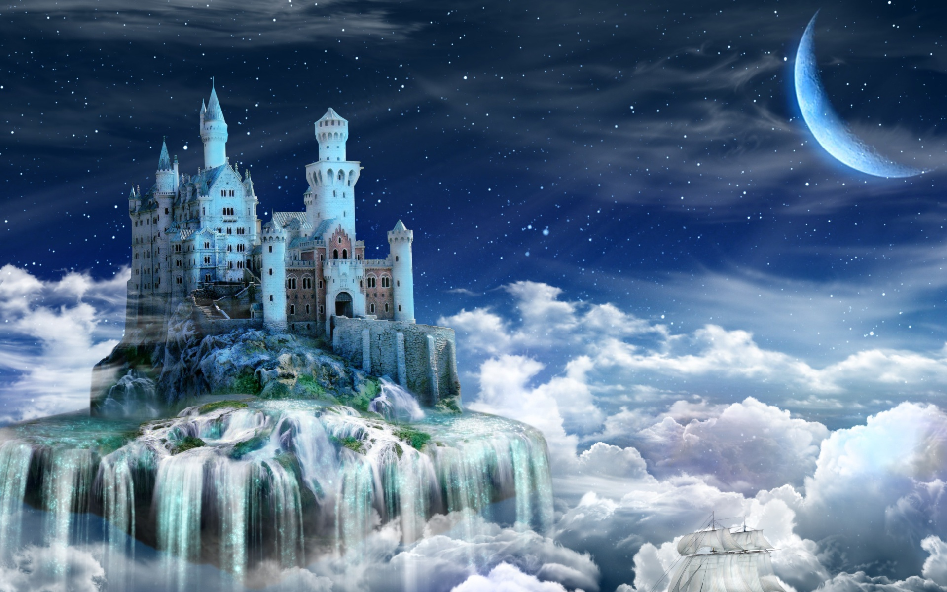 Magic Wallpaper Iphone X Castle On The Clouds Hd Wallpaper Background Image