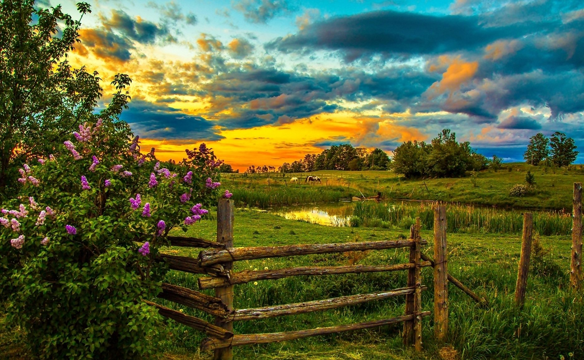 Fall Desktop Wallpaper Pinterest Spring Farm At Sunset Wallpaper And Background Image
