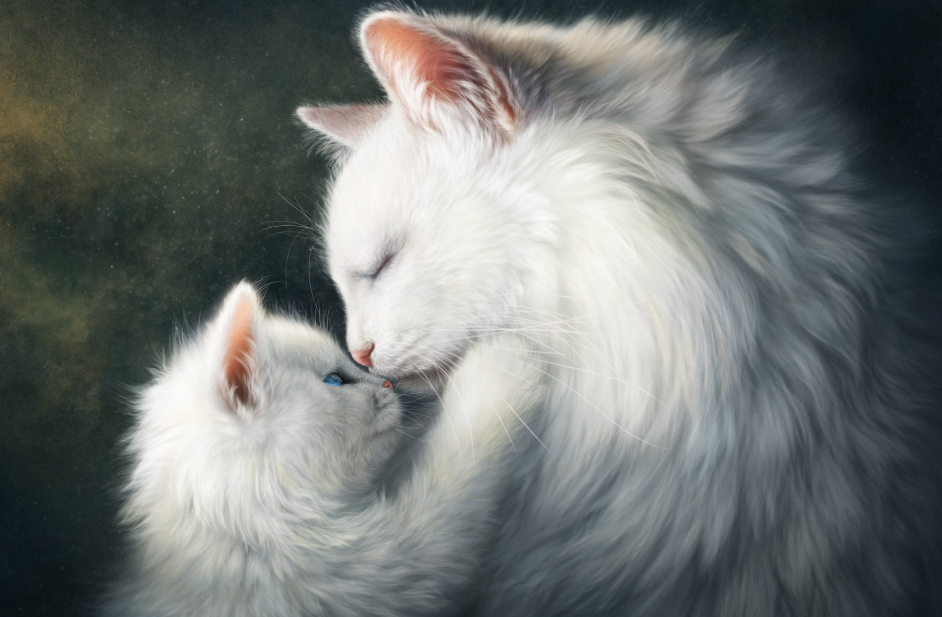 Cute Baby Wallpaper Full Hd Painting Of Mother Cat And Kitten Hd Wallpaper