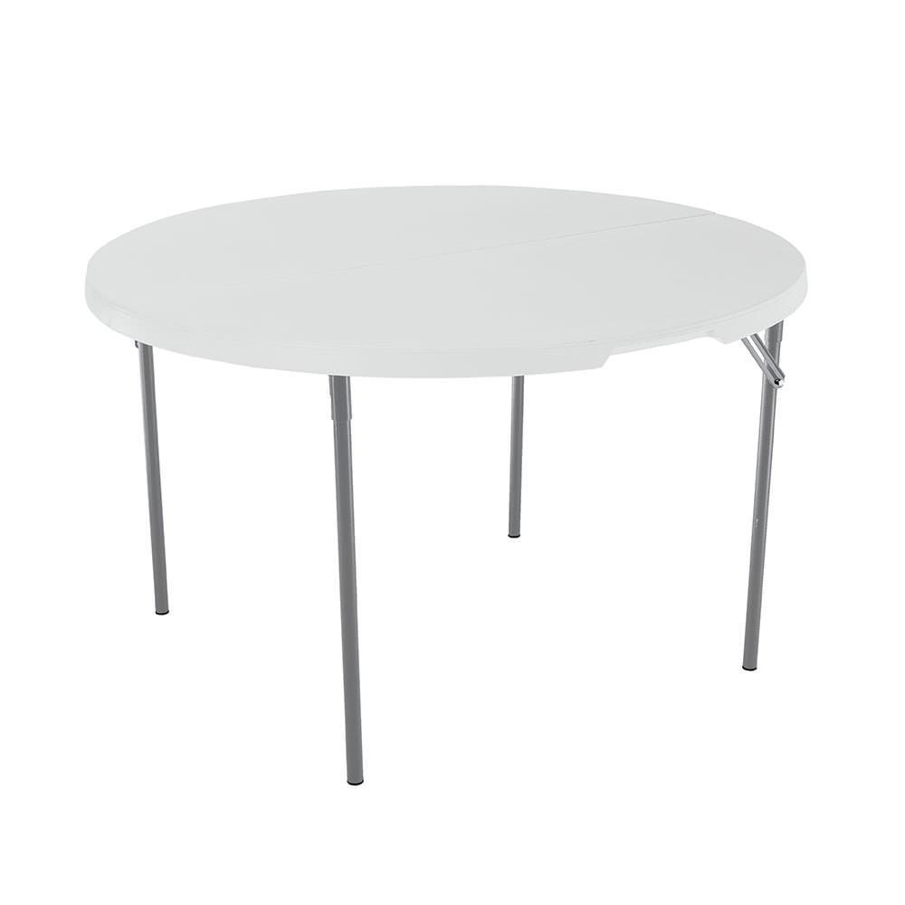 White Round Light Commercial Fold In Half Table 48