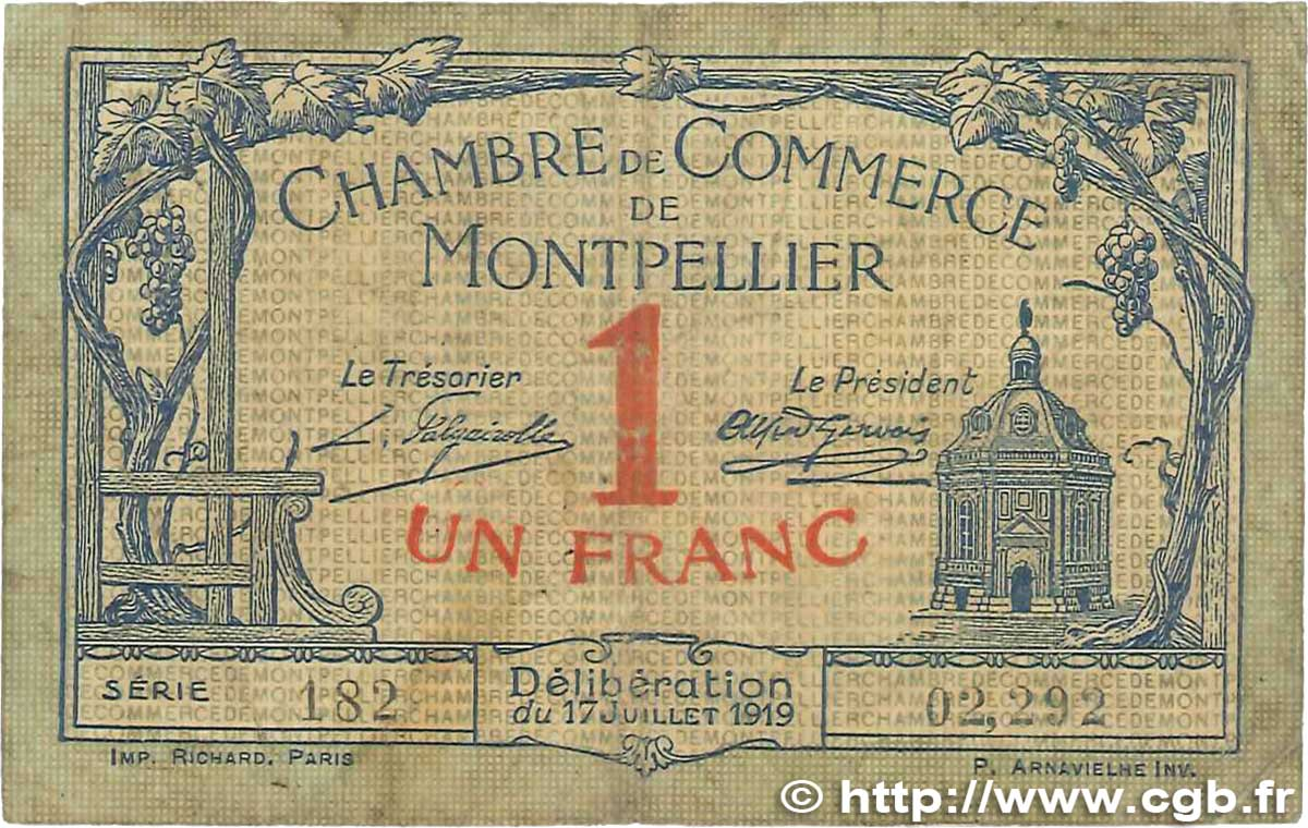 1 Franc France Regionalism And Miscellaneous Montpellier 1919 Jp 085 21 B99 1069 Banknotes