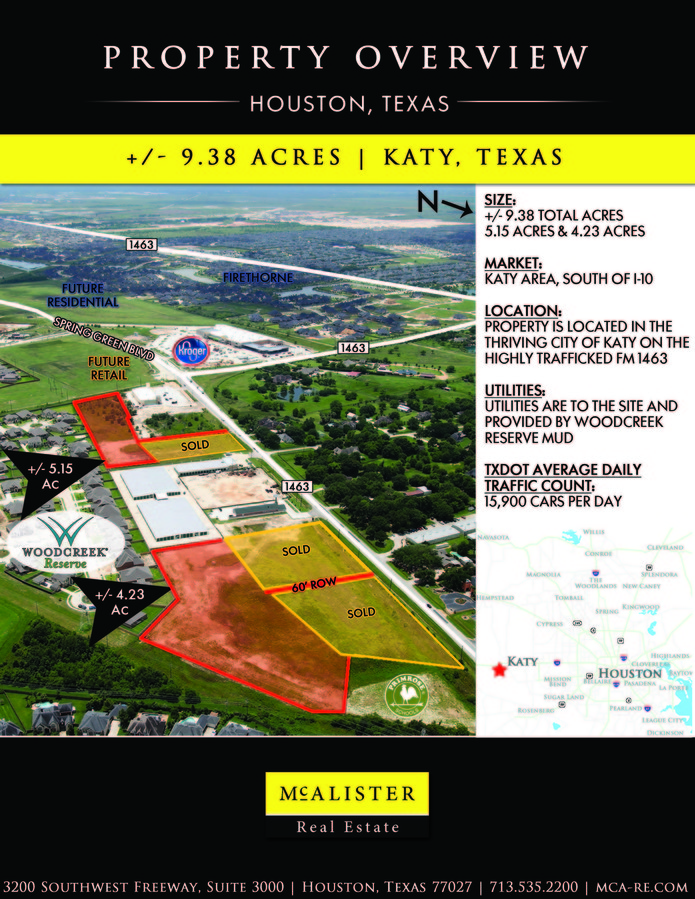 FM 1463  spring Green Blvd, Katy, TX, 77494 - Commercial Property - land for sale flyer