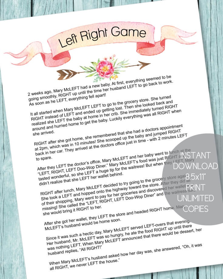 right left bridal shower game