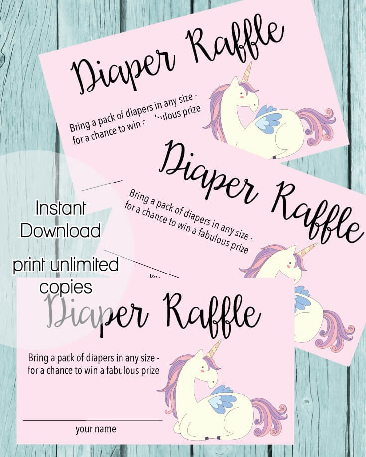 Printable Baby Shower Diaper Raffle Tickets - Pink Unicorn Theme