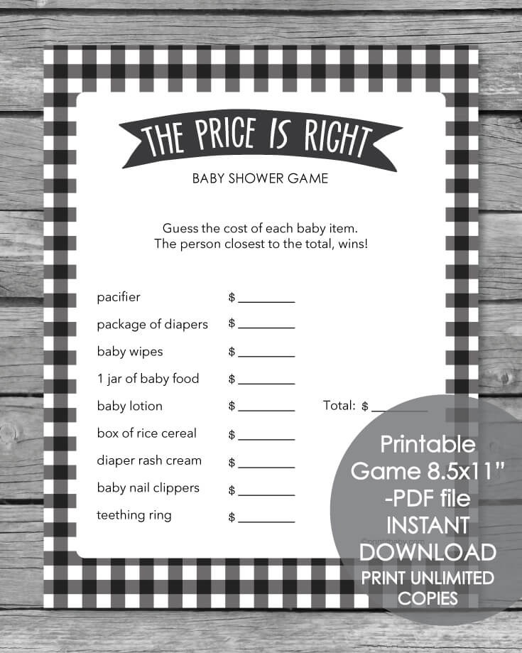 Printable Baby Shower Game - The Price Is Right - Black And White
