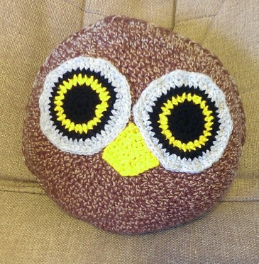 Crocheted Owl Cushion by Barefoot Mahala