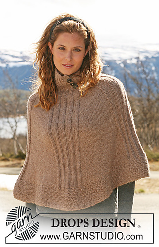 Drops Design Ravelry: 114-32 Knitted Poncho With Rib Pattern By Drops