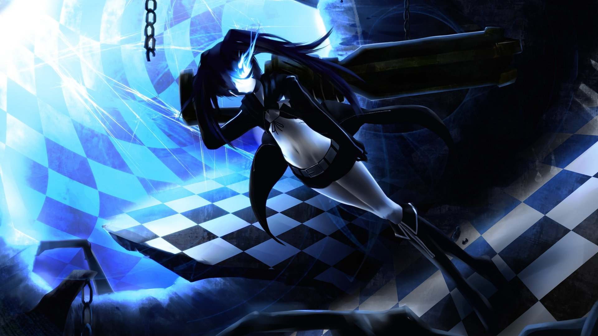 Wallpaper Engine Falling Girl Black Rock Shooter Hd Wallpaper Background Image