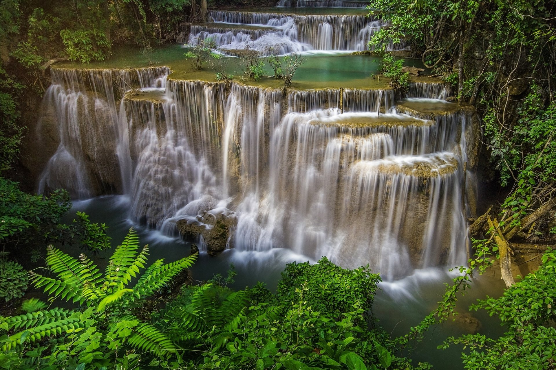 Wallpapers Gallery Falls Huai Mae Kamin Waterfall Hd Wallpaper Background Image