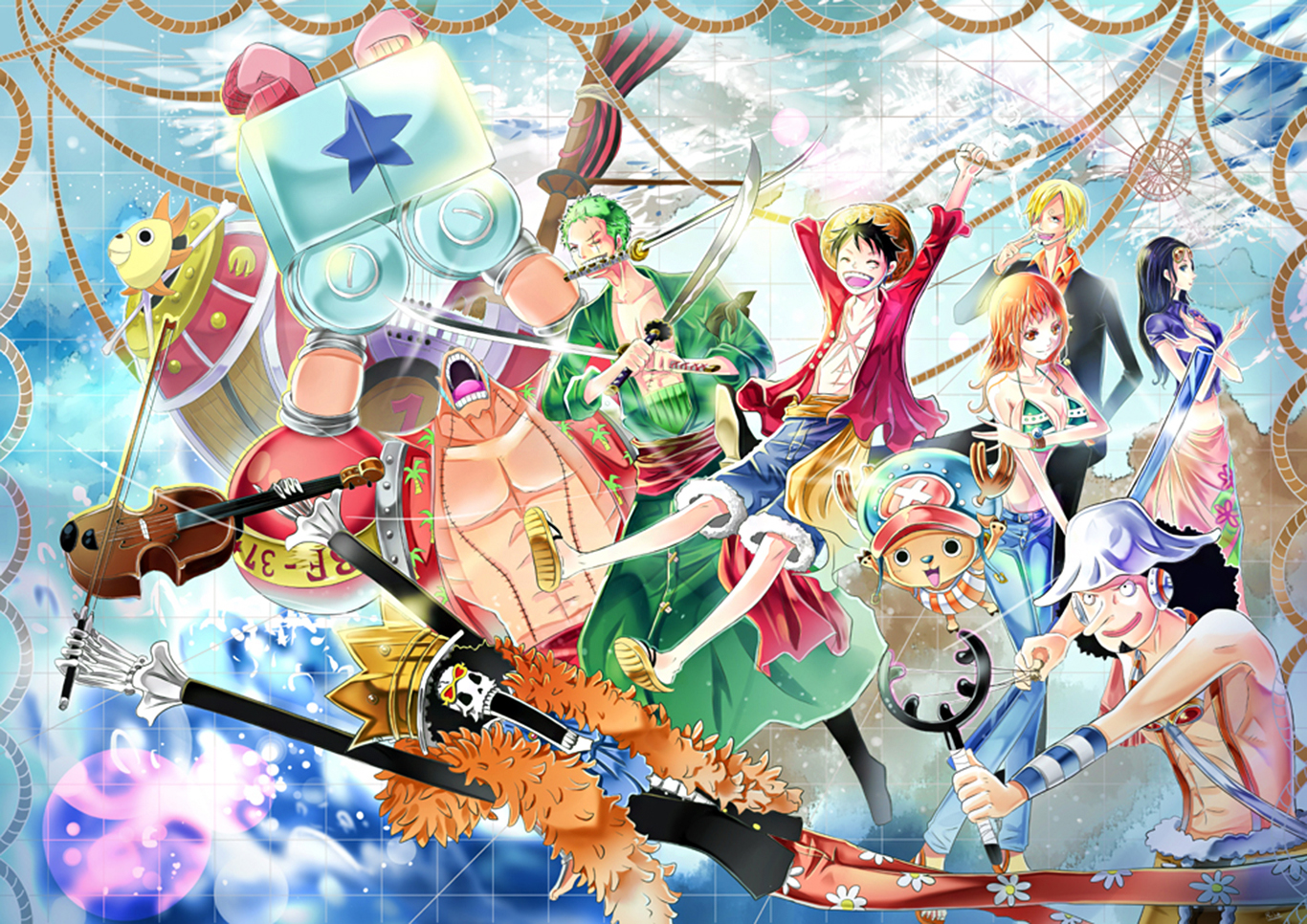 Anime Koi Fish Girl Wallpaper One Piece Wallpaper And Background Image 1366x966 Id