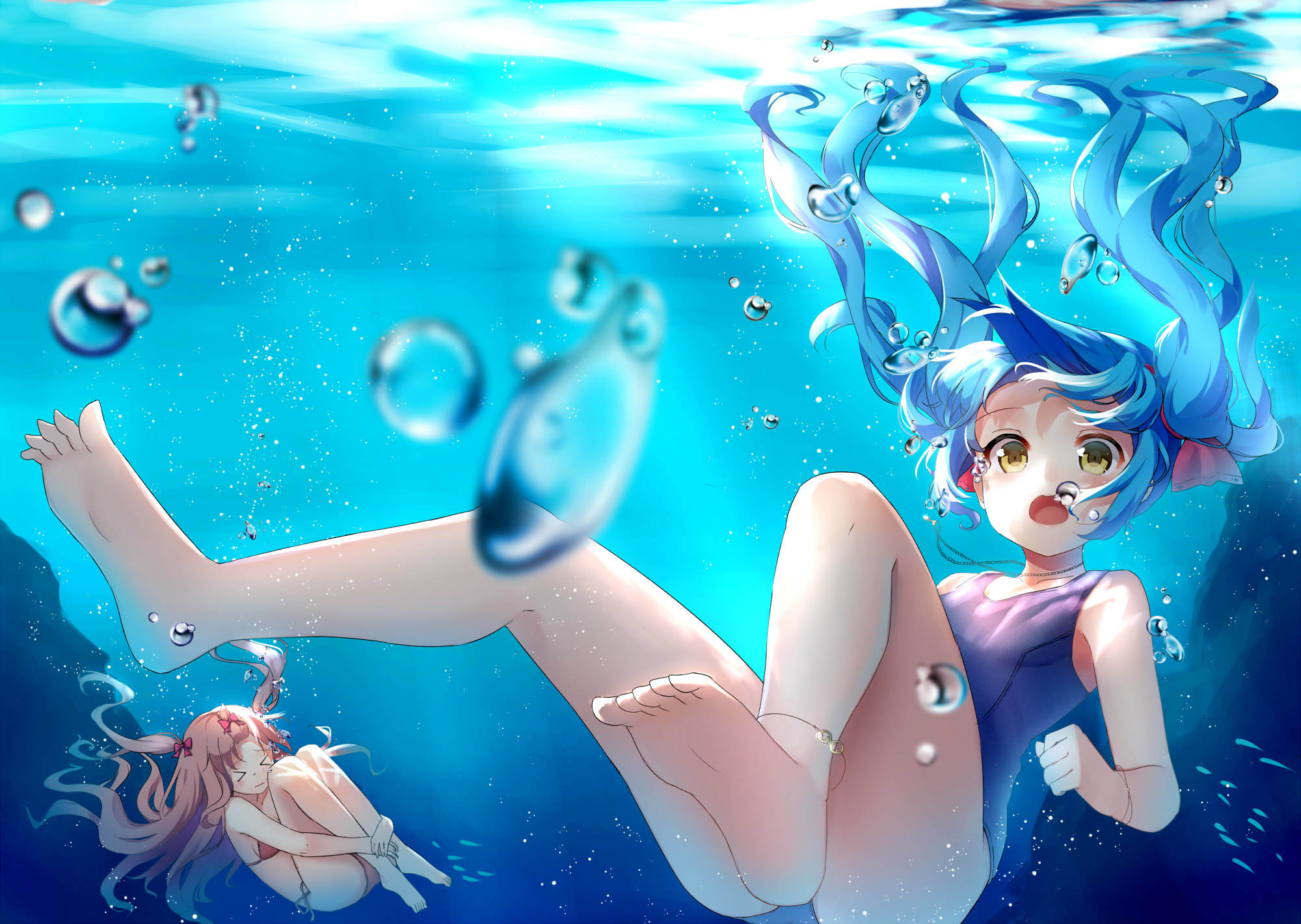 Wallpaper Girl Pink Iphone Anime Vocaloid Anime Girl Swimsuit Underwater Bubble