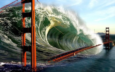 Tsunami Wave over Golden Gate Bridge HD Wallpaper ...
