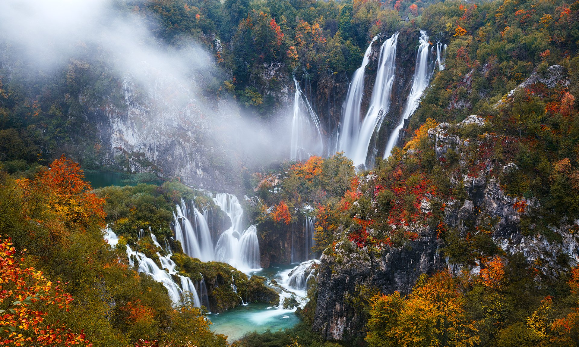 Fall Foliage Wallpaper Widescreen Plitvice Lakes National Park In Autumn Hd Wallpaper