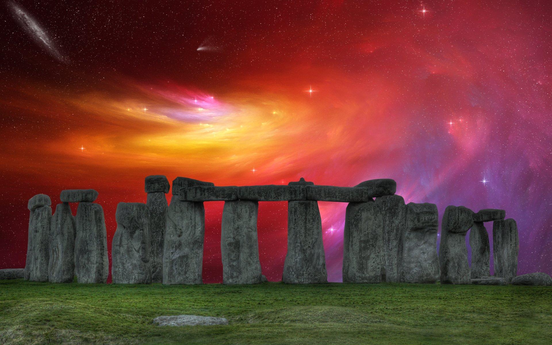 Iphone X Wallpaper Gif Landscape Nebula Sky Over Stonehenge Full Hd Wallpaper And