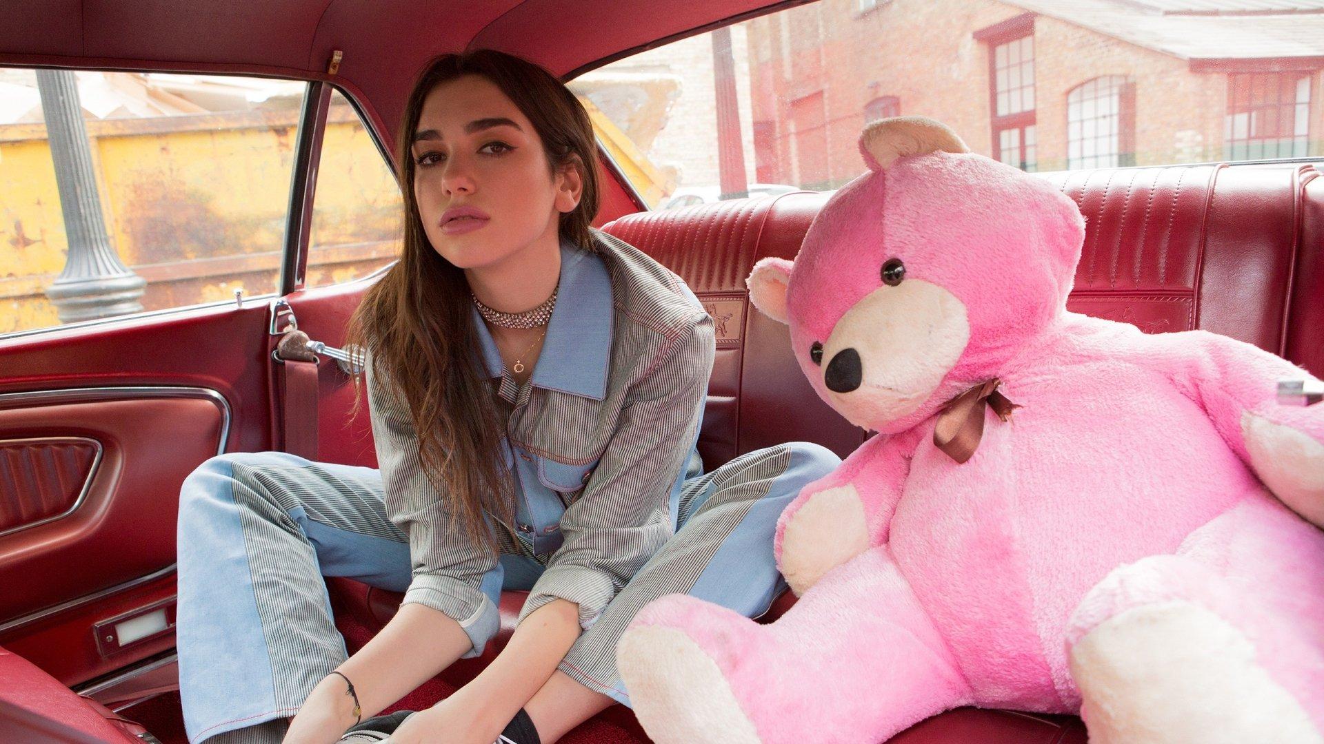 Car Wallpapers 3840x1200 Dua Lipa With Pink Teddy Bear Lol Hd Wallpaper