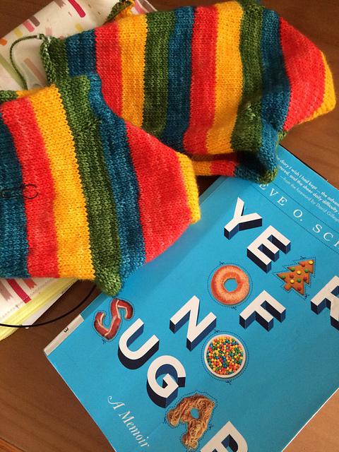 Sideswipe socks WIP and Yarn Along A Year of No Sugar