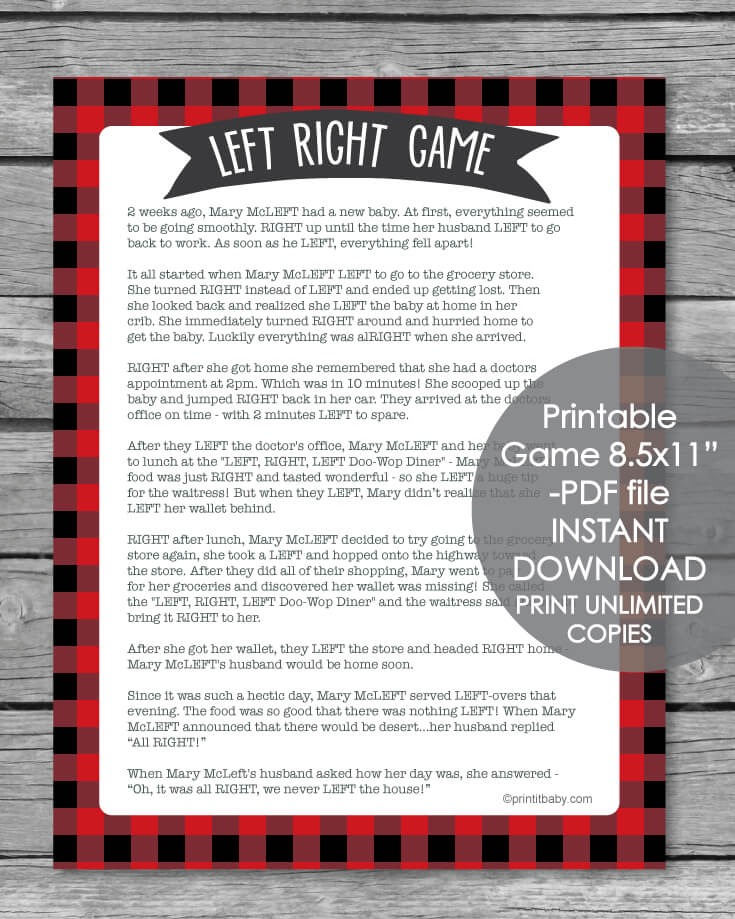 Printable Left Right Baby Shower Game Red Buffalo Plaid Print