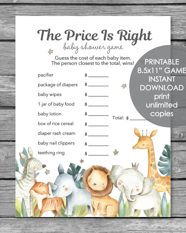 Printable Baby Shower Game - The Price Is Right - Jungle Safari
