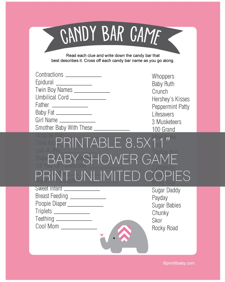 Baby Shower Candy Bar Game - Pink Elephant Jungle Theme - Print It Baby