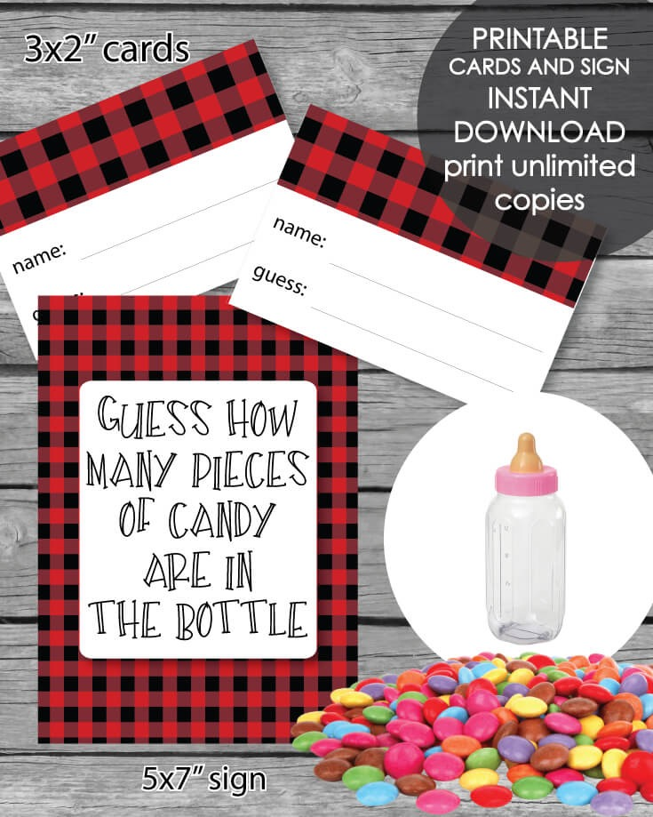 Printable Baby Shower Candy Guessing Game - Red  Black Lumberjack