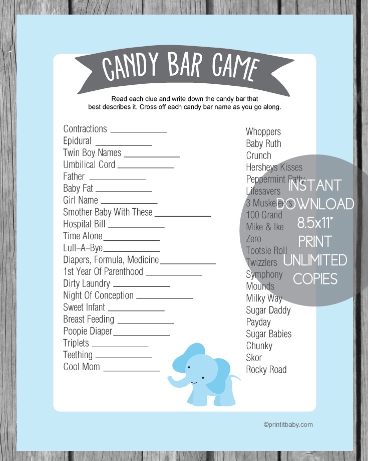 Printable Blue Elephant Baby Shower Candy Bar Game - Print It Baby