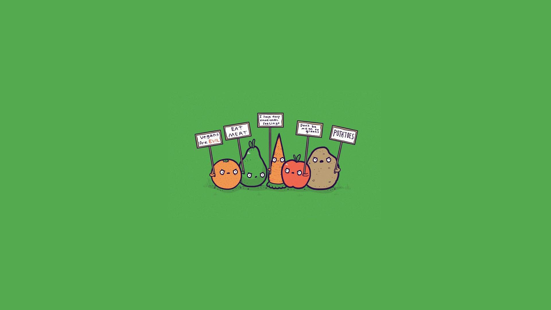 Cute Cartoon Sushi Wallpaper Protesting Fruit And Vegetables Hd Wallpaper Background