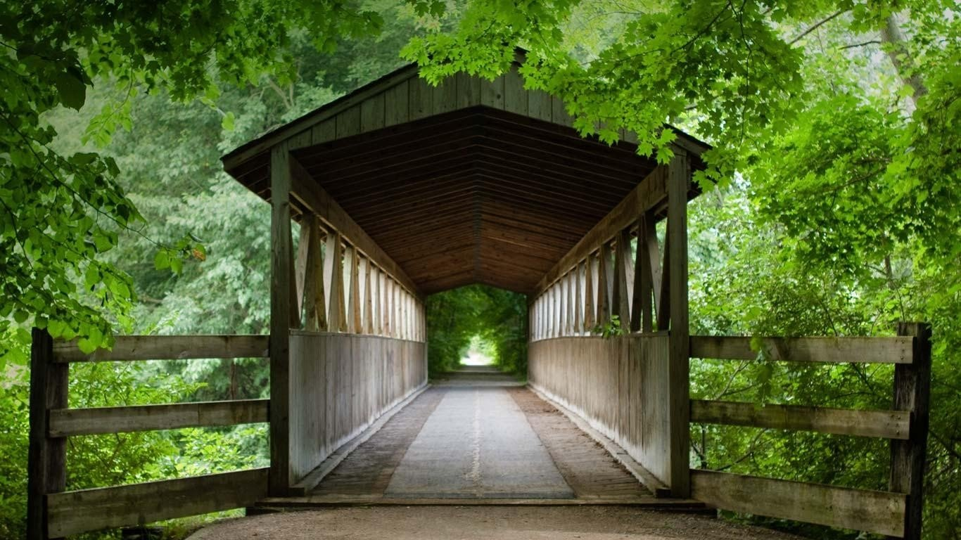 Michigan Fall Colors Wallpaper Covered Bridge Wallpaper And Background Image 1366x768