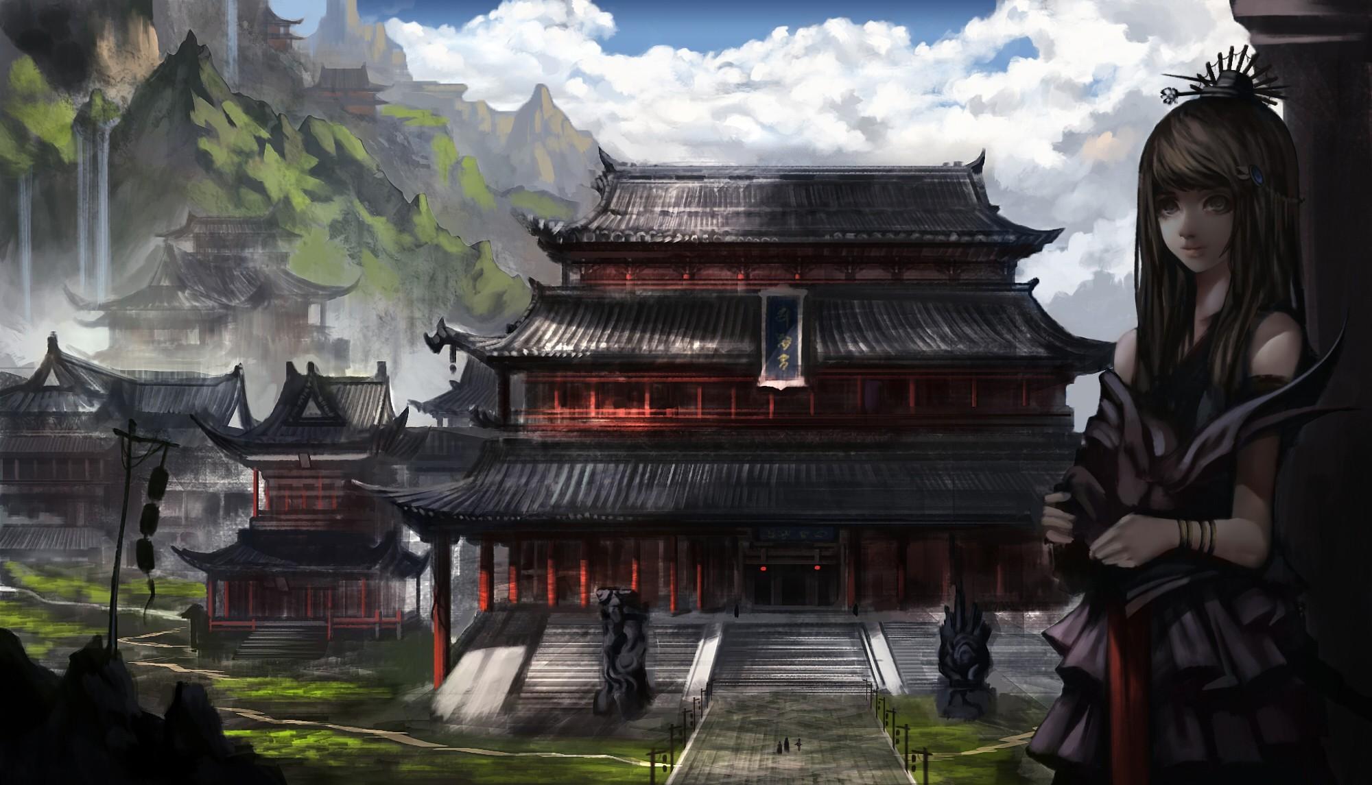Kitsune Girl Hd Wallpaper Original Hd Wallpaper Background Image 2000x1145 Id