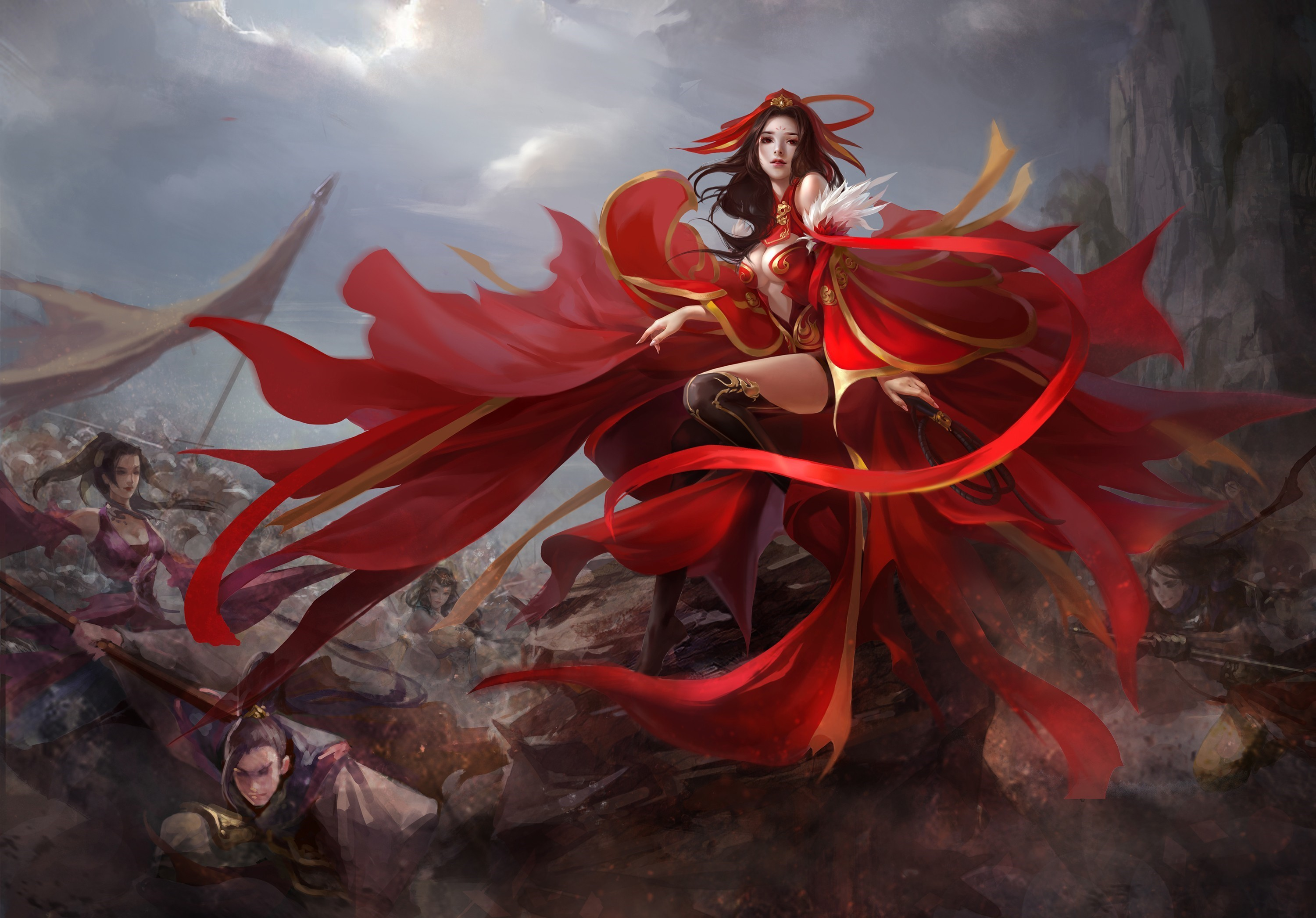 Anime Girl Angle Wallpaper 1366x768 Warrior Full Hd Wallpaper And Background 3000x2091 Id