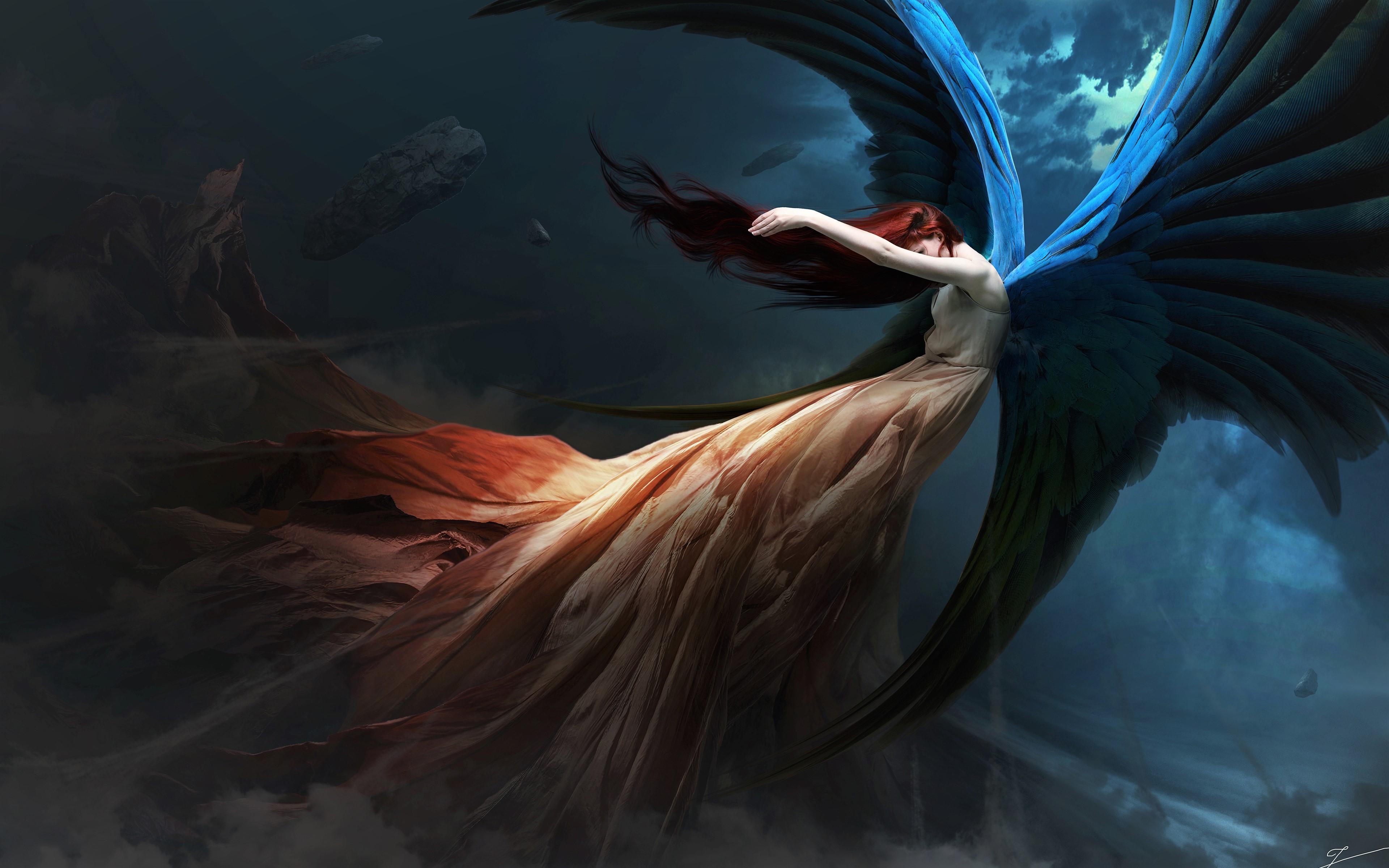Pretty Anime Falling Angel Wallpapers 1920x1080 Hd Angel 4k Ultra Hd Wallpaper Background Image 3840x2400