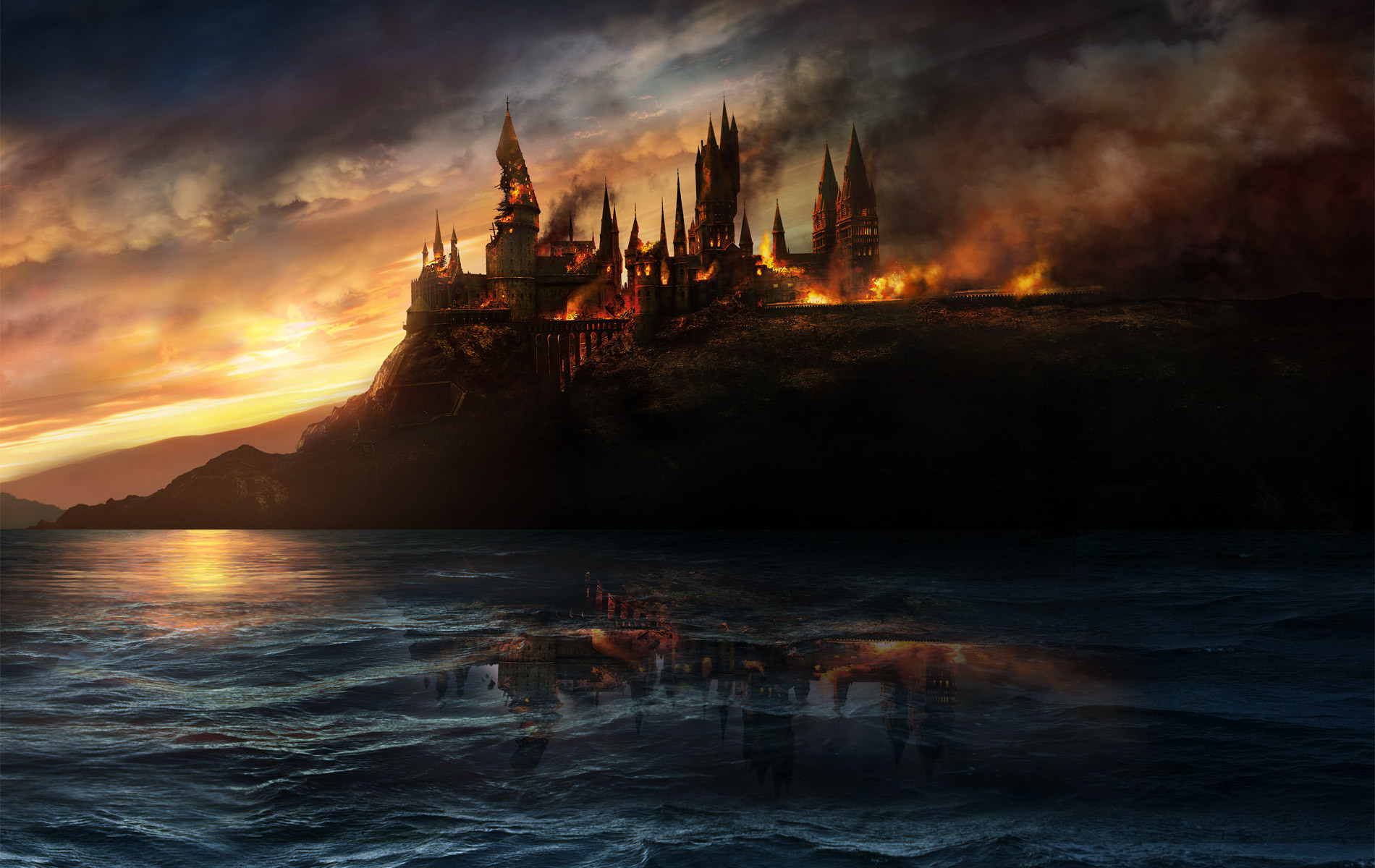 Harry Potter Hogwarts Hogwarts Burning Harry Potter Photo 28128154 Fanpop
