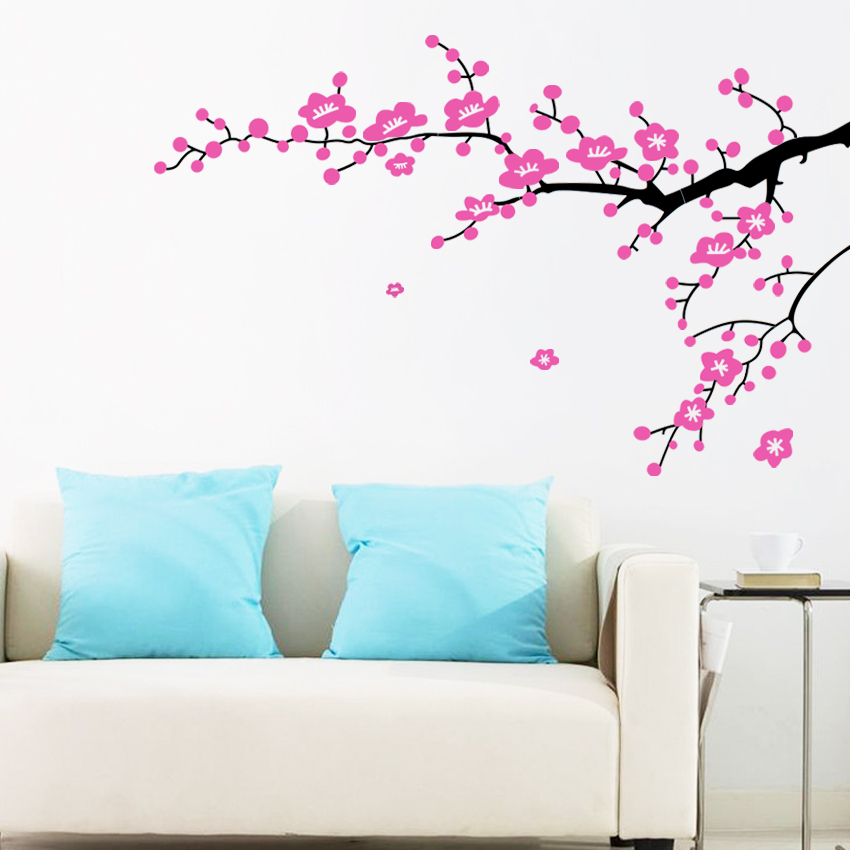 plum flower branches wall sticker home decorating photo home sweet home wall sticker decals