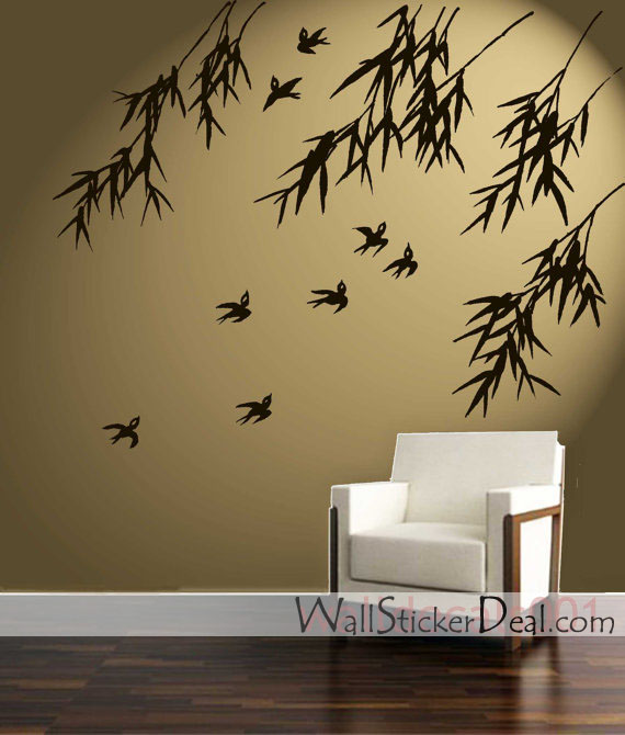 birds bamboo wall stickers home decorating photo wall sticker cambia il dell ambiente attimo