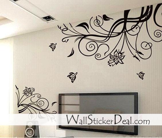 lovely flower butterfly wall stickers home decorating home sweet home wall sticker decals