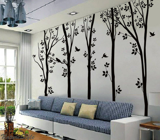 birches tree flying birds wall sticker home decorating photo home sweet home wall sticker decals