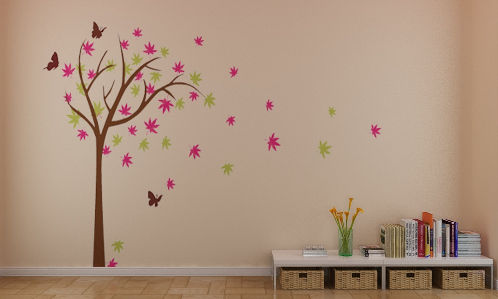 funny colorful tree butterfly wall stickers decals art purple butterfly family wall decal