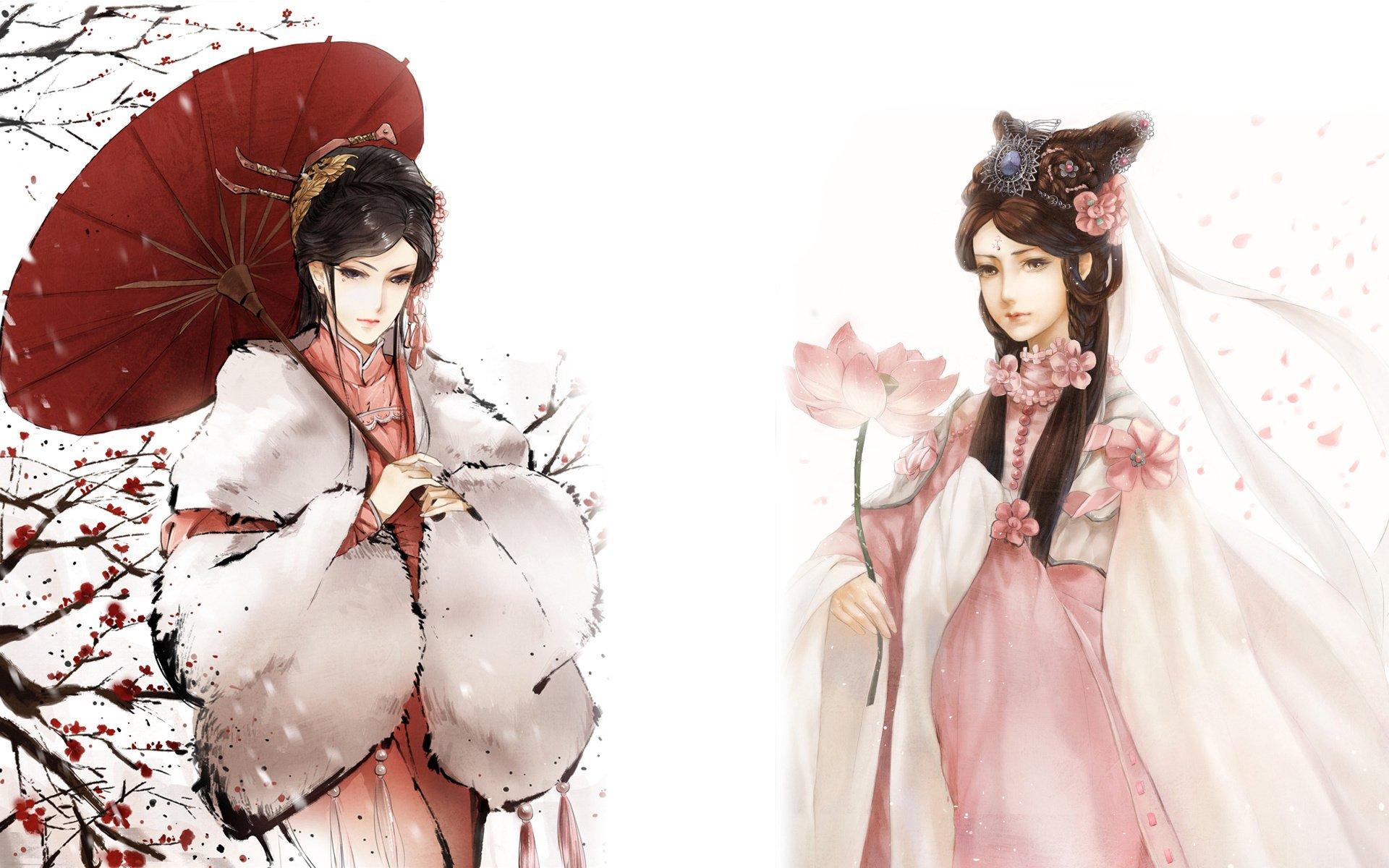 Beautiful Chinese Girl Paintings Widescreen Wallpaper Original Hd Wallpaper Background Image 1920x1200 Id