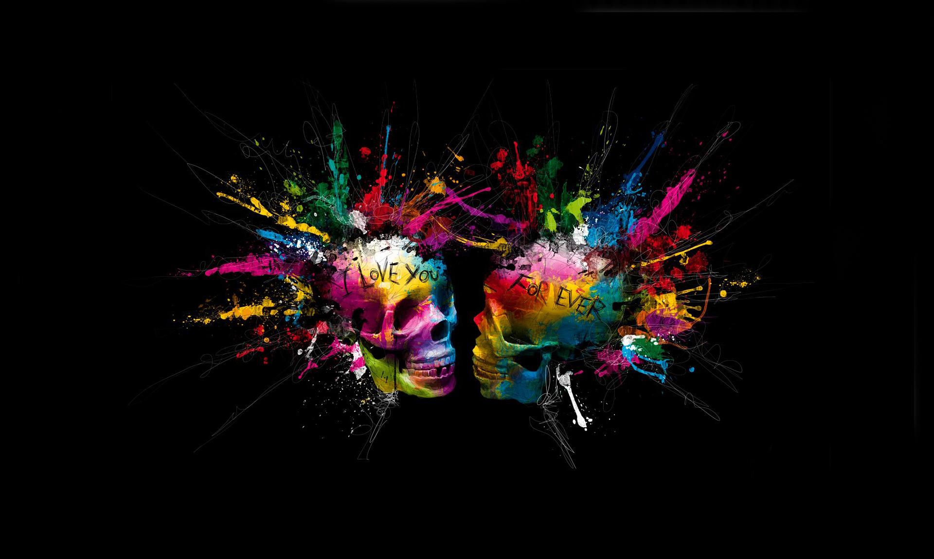 Colorful Skull Iphone Wallpaper Dark Skull Love Dark Colors Colorful Artistic Art Wallpaper