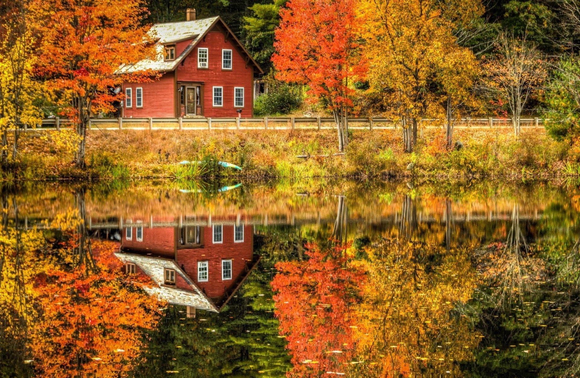 New England Fall Wallpaper Reflection Full Hd Wallpaper And Background Image