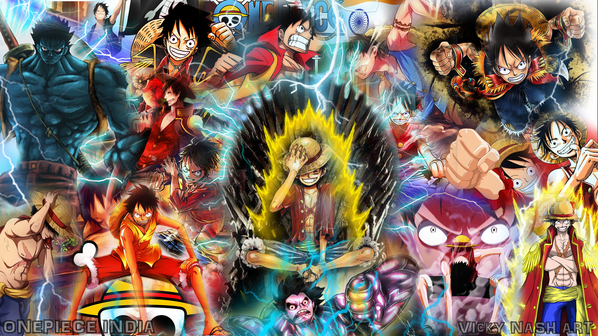 Wallpaper Iphone Hd Keren One Piece Luffy On Iron Throne Full Hd Wallpaper And