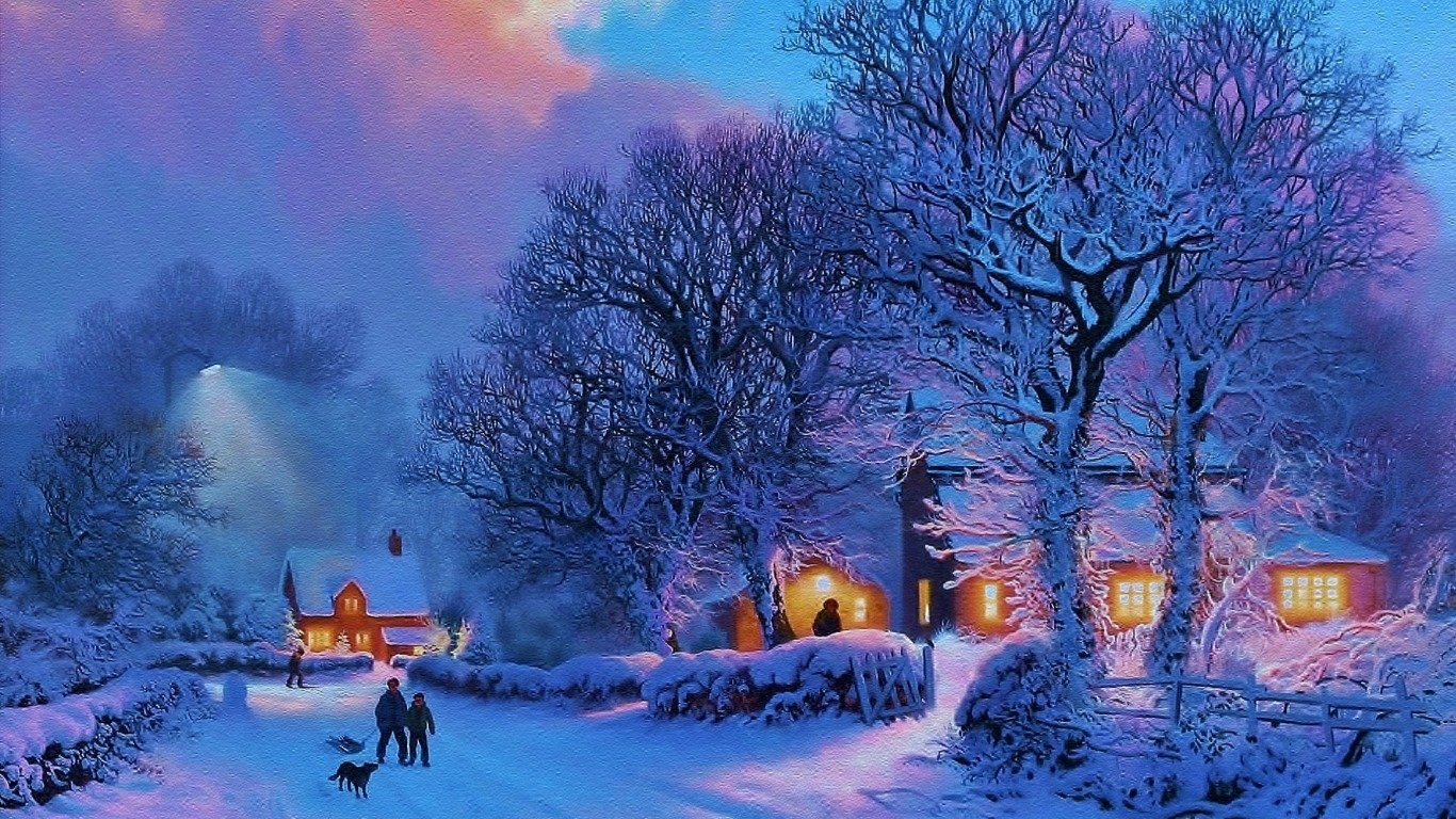 Snow Village 3d Live Wallpaper And Screensaver After The Snow Fond D 233 Cran And Arri 232 Re Plan 1366x768
