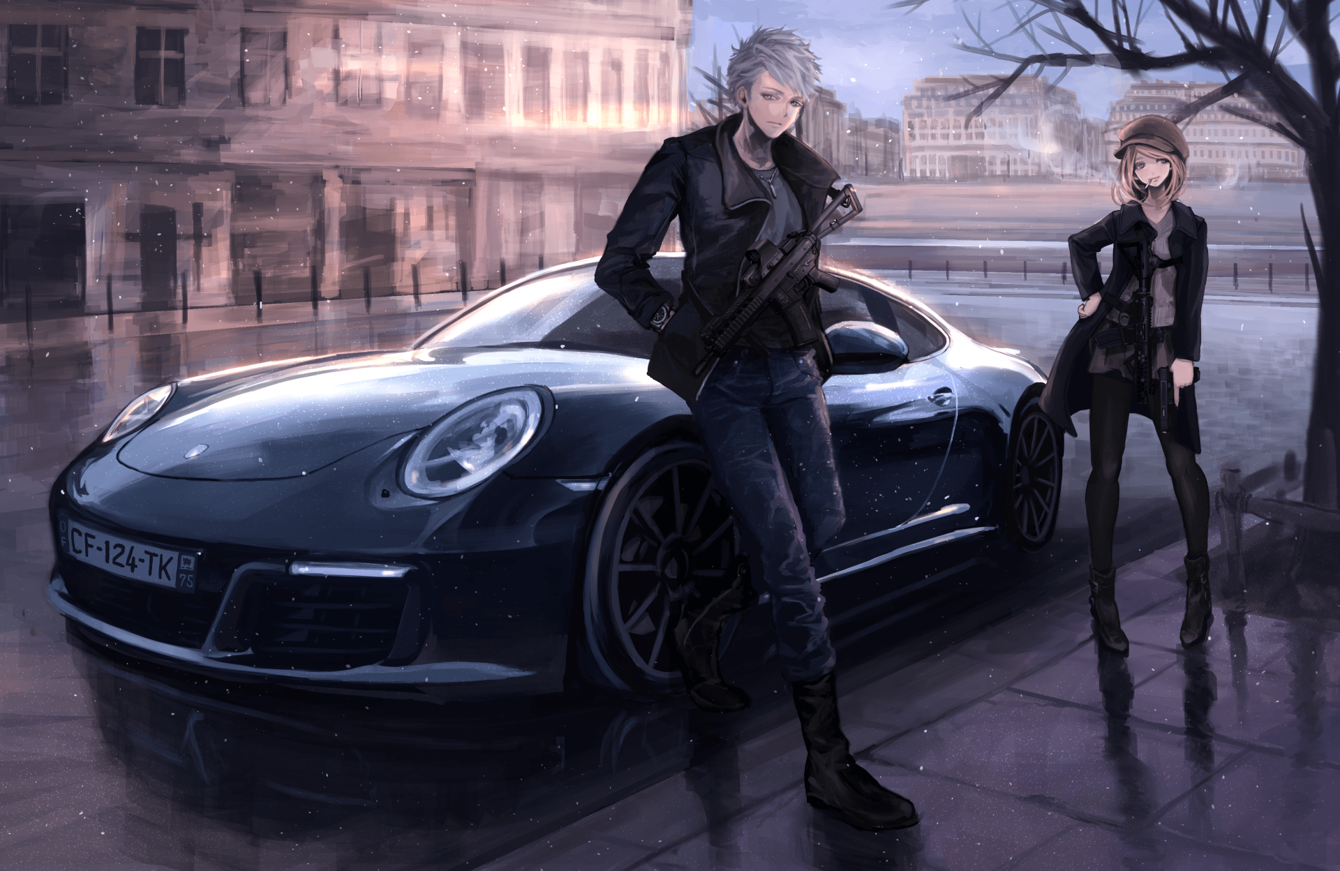 Girl And Sport Car Wallpaper Anime Art 4k Ultra Hd Wallpaper And Background Image