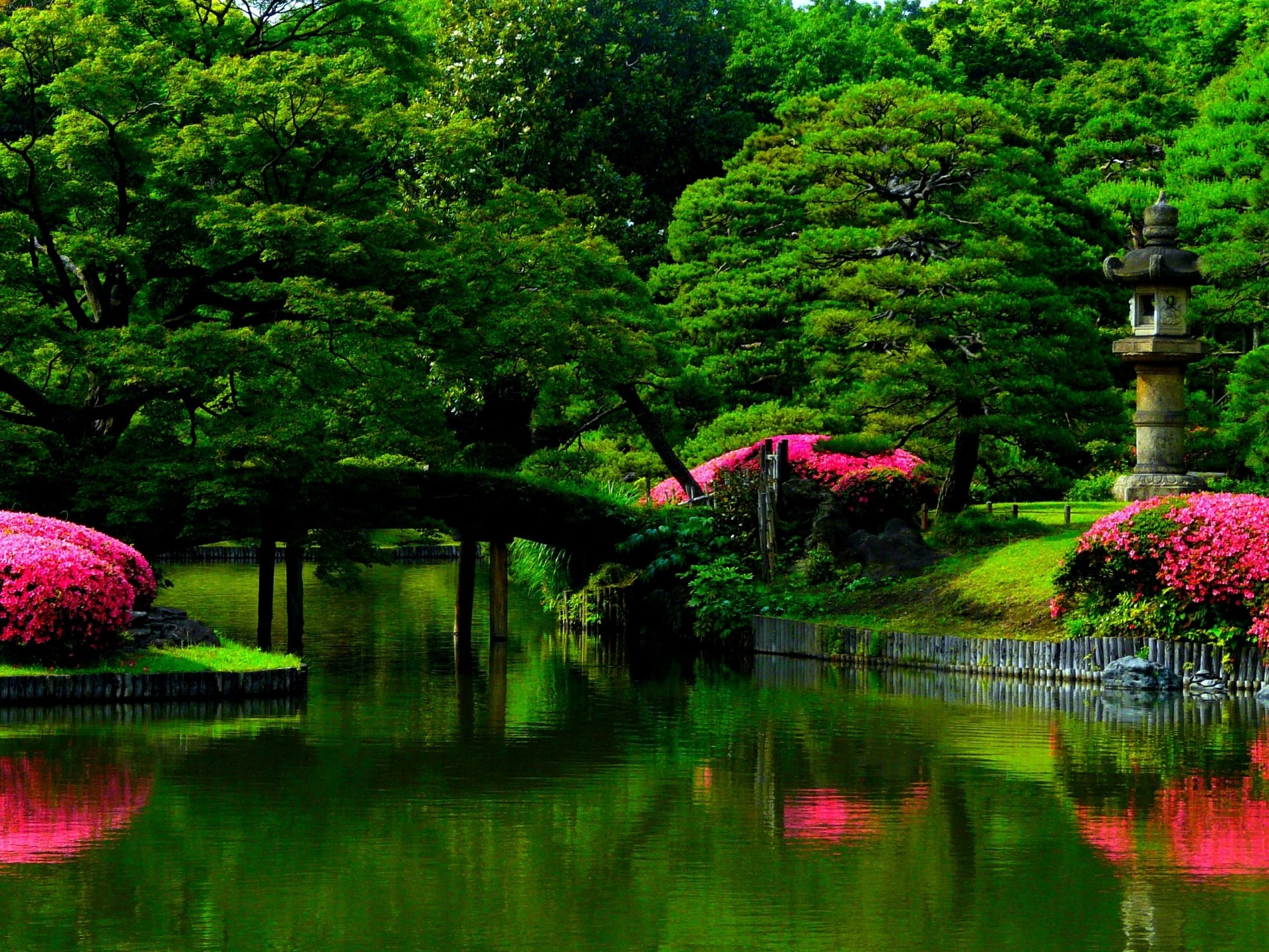 Beautiful Wallpapers For Iphone 6 Plus Bridge In Spring Park Full Hd Wallpaper And Background