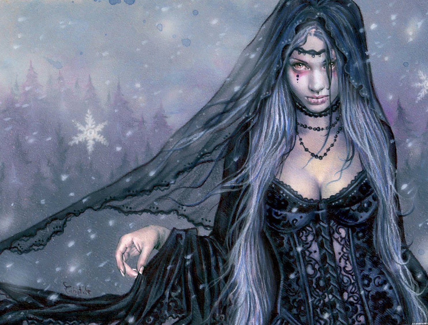 Sad Girl Mobile Wallpaper Gothic Fantasy Girl Sfondo And Sfondi 1484x1128 Id