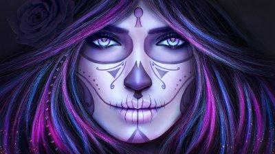 Dia de Los Muertos (Day of the Dead) Make-Up HD Wallpaper   Background Image   1920x1080   ID ...