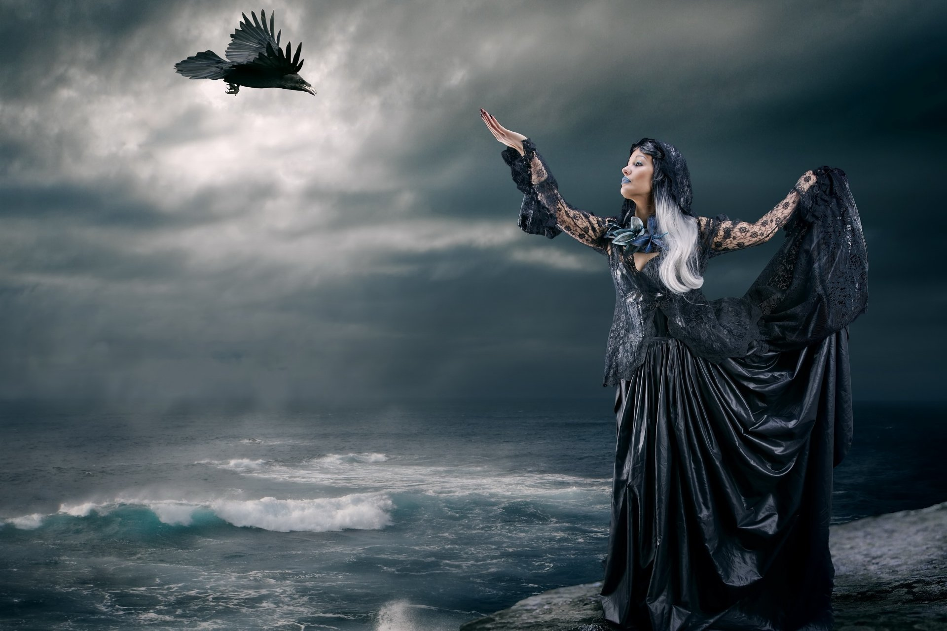 Gothic Girl Wallpaper Iphone Goth Girl And Raven Hd Wallpaper Background Image