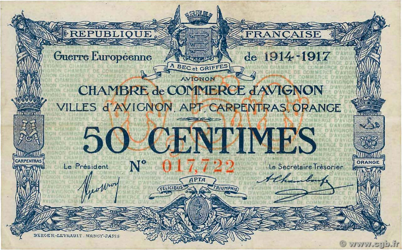 Chambre De Commerce Avignon 50 Centimes France Regionalism And Miscellaneous Avignon 1915 Jp