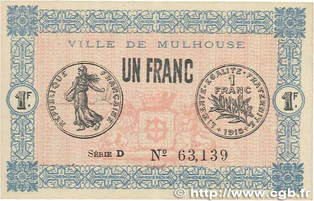 Chambre Des Commerces Mulhouse 1 Franc France Regionalism And Miscellaneous Mulhouse 1918 Jp 132 02