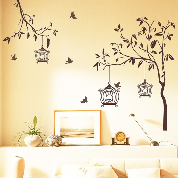 happy street lights birds tree wall sticker home decorating vine tree large wall decals stickers appliques home decor
