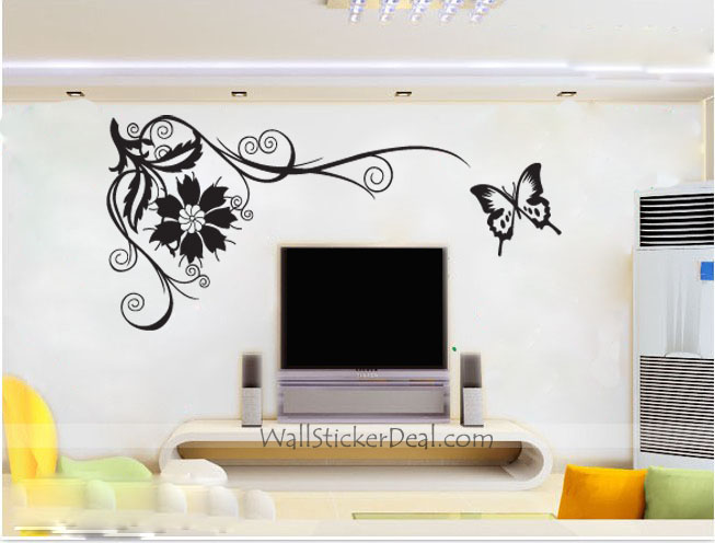 bathroom wall decorations butterfly wall stickers pink flower wall stickers living room bedroom wall art decals